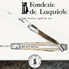 Fonderie de Laguiole ROE: Knife Legende 1012 - Wood Stag handle - stainless blade 14C28 - hand guilloched spring - FORGED ROE hand cut and chiseled