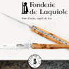 Fonderie de Laguiole: Knife Exception Cathar - stainless blade 12C27 SANDVIK - full Juniper handle - guilloched spring - FORGED bee in form of catharcross hand cut and engraved
