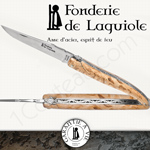 Fonderie de Laguiole: Knife Exception Freemason - stainless blade 12C27 SANDVIK - full curly birch handle - guilloched spring and double plates - FORGED bee Masonic pattern hand cut and engraved