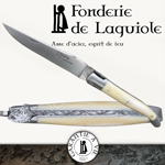 Fonderie de Laguiole BOAR HEAD: Knife Legende 1212 Bone handle - stainless blade 14C28 - hand guilloched spring - FORGED BOAR HEAD bee hand cut and chiseled
