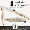 Fonderie de Laguiole: Knife Exception Pilgrim - stainless blade 12C27 SANDVIK - full Bronze handle - guilloched spring - FORGED bee in form of Saint Jacques shell hand cut and engraved