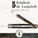 Fonderie de Laguiole BEE: Knife Legende 1012 - Brown Tip Horn handle - stainless blade 12C27 - hand guilloched spring - FORGED BEE hand cut and chiseled