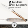 Fonderie de Laguiole BULL: Knife Legende 1012 - Blond Tip Horn handle - stainless blade 12C27 - hand guilloched spring - FORGED BULL hand cut and chiseled