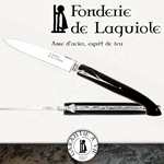 Fonderie de Laguiole: Knife Exception 12210 - full Black Tip Horn handle - stainless blade 14C28 - guilloched spring - FORGED bee hand cut and engraved