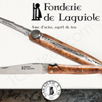 Fonderie de Laguiole: Knife Exception Saint Jacques - stainless blade 12C28 SANDVIK - full Juniper handle - guilloched spring - FORGED bee in form of Saint Jacques shell hand cut and engraved