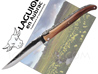 Laguiole en Aubrac knife Tip Horn handle with raw blade forged delivered in black wood box