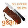 Douk-Douk pocket knife by Pierre Cognet - Carbon steel forged blade - Arm bronze handle  delivered with light brown leather sheath stamped with the famous DoukDouk -vertical carriage-