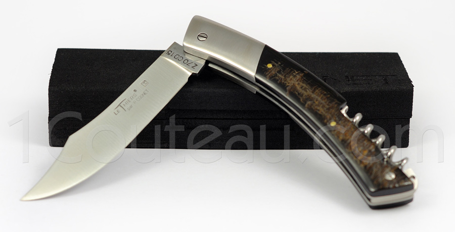 Le Thiers Knife stainless steel bolster and Buffalo horn handle with CORKSCREW