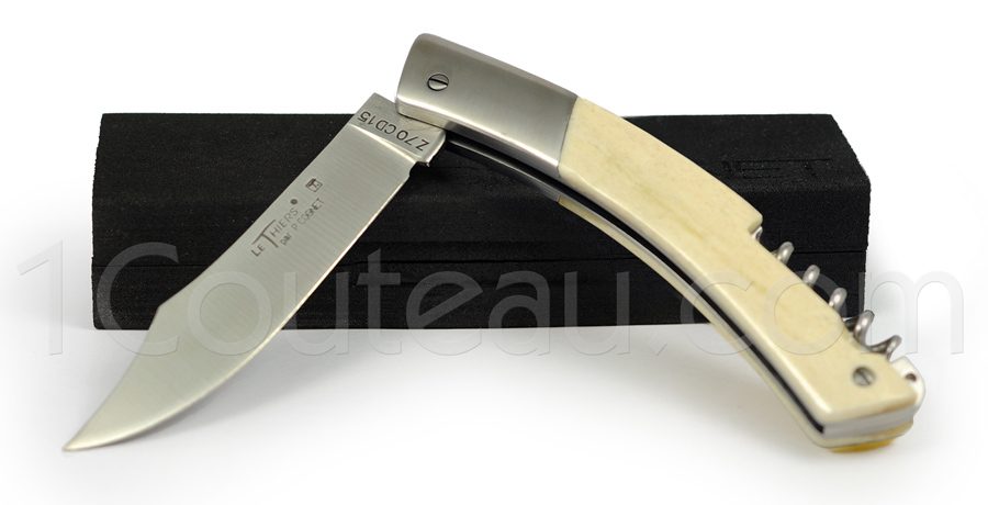 Le Thiers Knife stainless steel bolster and Camel Bone handle with CORKSCREW