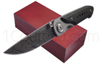 MASERIN knife premium line Damascus blade titanium handle with Ebony wood plates  delivered with a wooden box