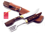 MASERIN Luxury set of knife and fork with leather sheath for camping or picnic