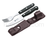 BOKER set of knife and fork with leather sheath for camping or picnic - stands vertically to the belt
