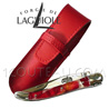 ROSE PETALS forged spring and bee in 1 bloc and HAND CHISELED  Forge de Laguiole pocket knife for WOMAN-GIRL-LADY  acrylic handle with rose petals inlay - 2 bright stainless steel bolsters adapted Red colored leather case
