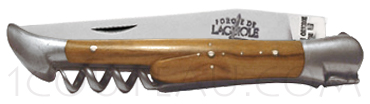 Forge de Laguiole knives, Folding knife with corkscrew  - Olive wood handle
