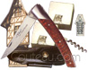 PIROU Le Thiers pocket knife by Goyon-Chazeau  Amourette handle with corkscrew  Le Thiers black full flower leather sheath for belt