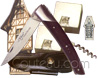 PIROU Le Thiers pocket knife by Goyon-Chazeau  Ebony handle with corkscrew  Le Thiers black full flower leather sheath for belt
